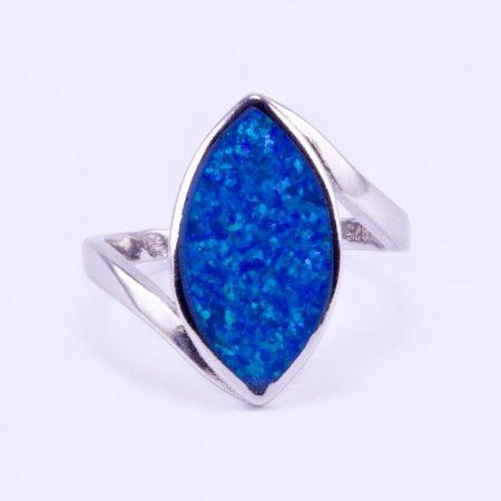 """Ezüst kék opál gyűrű """"bab"""""""