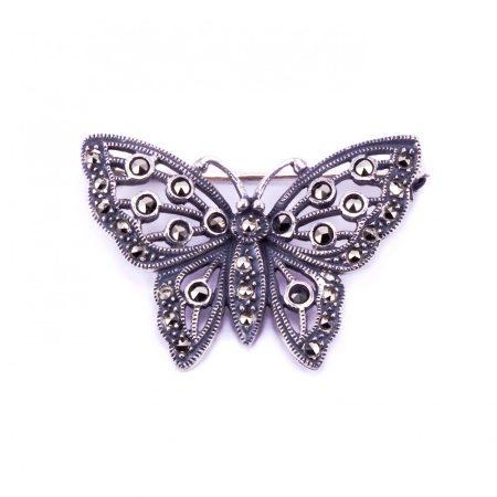 """Ezüst markazit köves kitűző """"pillangó"""""""
