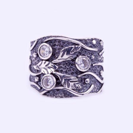 """Ezüst antikolt cirkónia köves gyűrű """"18"""""""