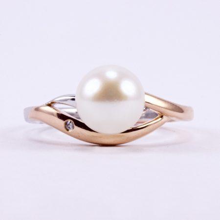 Ezüst rosé aranyozott gyöngy gyűrű