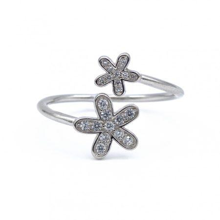"""Ezüst cirkónia köves gyűrű """"két virág"""""""