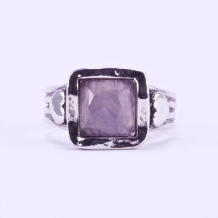 """Izraeli ezüst csiszolt rózsakvarc köves gyűrű """"négyzet.szív"""""""