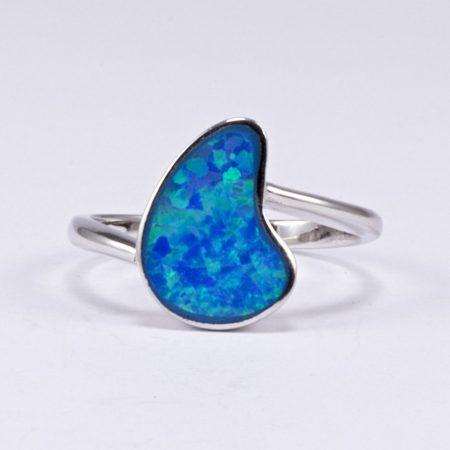 Ezüst kék opál gyűrű 3.