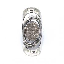 """Izraeli ezüst druzy gyűrű """"nagy.szürke"""""""