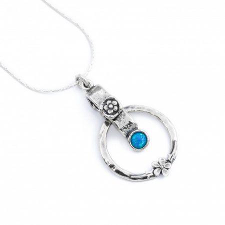 "Izraeli ezüst opál köves medál lánccal ""2.virág"""