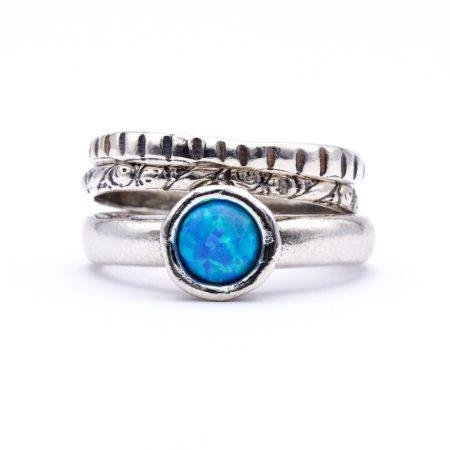 """Izraeli ezüst opál köves gyűrű """"3-1"""""""