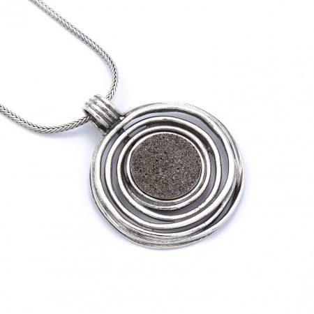 """Izraeli ezüst druzy köves medál lánccal """"szürke"""""""