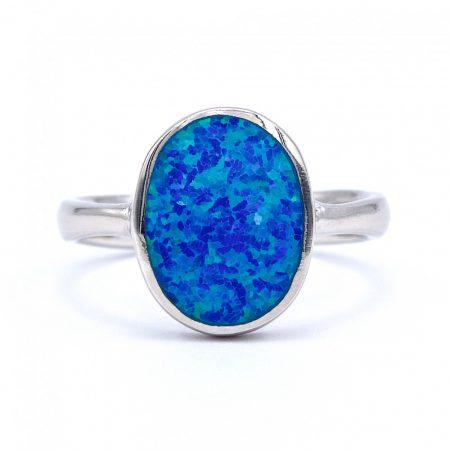 """Ezüst kék opál köves gyűrű """"ovál"""""""
