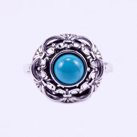 """EZüst türkiz köves gyűrű """"áttört.virág"""""""