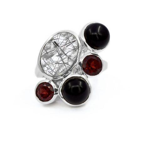 Ezüst tűrutil és gránát és ónix köves gyűrű