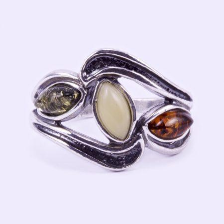 """Ezüst borostyán köves gyűrű """"szélesedő 3 köves"""""""
