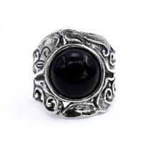 """Izraeli ezüst ónix köves gyűrű """"12"""""""
