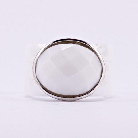 Ezüst fehér kerámia gyűrű