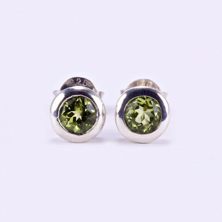 """Ezüst olivin (peridot) köves fülbevaló """"köz"""""""