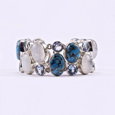 Egyedi ezüst krizokolla, holdkő és kék topáz köves karlánc