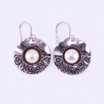 """Izraeli ezüst gyöngy fülbevaló """"beak.virágok"""""""