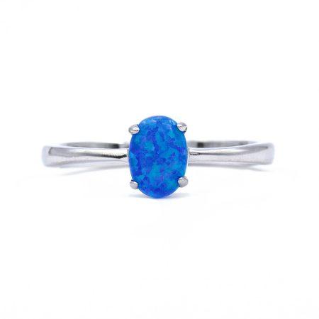 """Ezüst kék opál köves gyűrű """"5x7"""""""