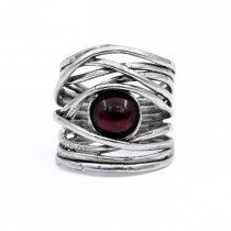 Izraeli ezüst gránát köves gyűrű
