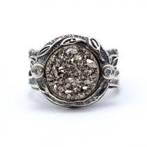 """Izraeli ezüst druzy és cirkónia köves gyűrű """"szürke"""""""