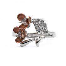 """Ezüst cirkónia köves gyűrű """"rosé.virág"""""""