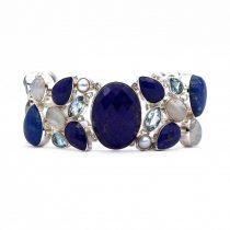 Egyedi ezüst lápisz lazuli, holdkő, gyöngy és kék topáz köves karlánc