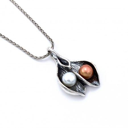 """Izraeli ezüst gyöngy medál lánccal """"két gyöngy"""""""