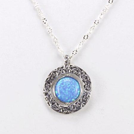 """Izraeli ezüst opál köves medál lánccal """"forgatható"""""""
