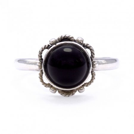 """Ezüst ónix köves gyűrű """"virág"""""""