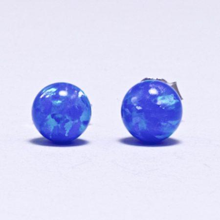 Ezüst kék opál gömb fülbevaló
