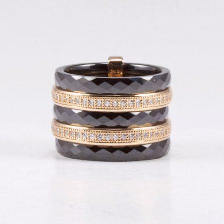 Ezüst-kerámia gyűrű rosé aranyozással, cirkónia kövekkel