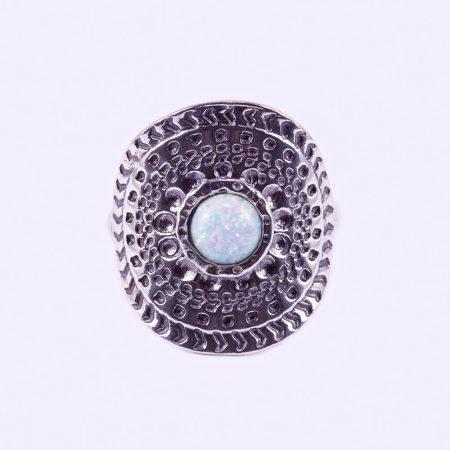 """Ezüst fehér opál köves gyűrű """"kerek"""""""