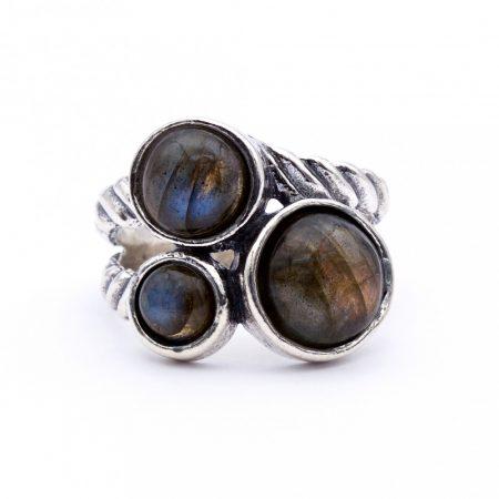 """Izraeli ezüst labradorit köves gyűrű """"bordás.3"""""""