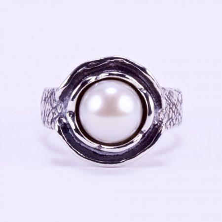 """Izraeli ezüst gyűrű gyönggyel """"vésett"""""""
