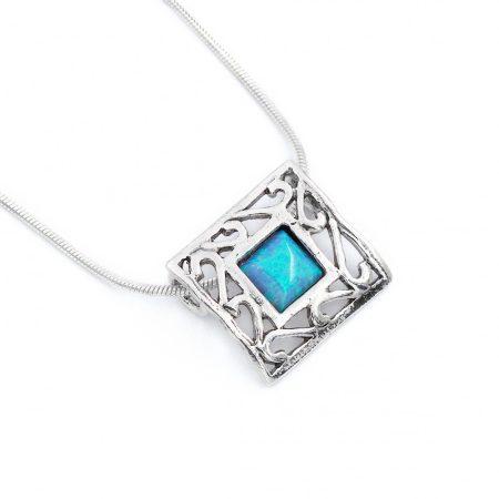 """Izraeli ezüst opál köves medál lánccal """"áttört négyzet"""""""