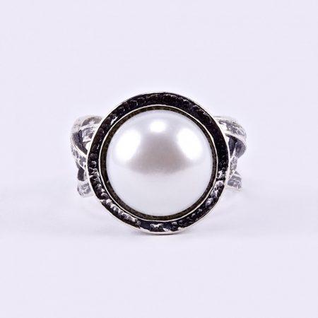 """Izraeli ezüst gyöngy gyűrű """"fonott"""""""