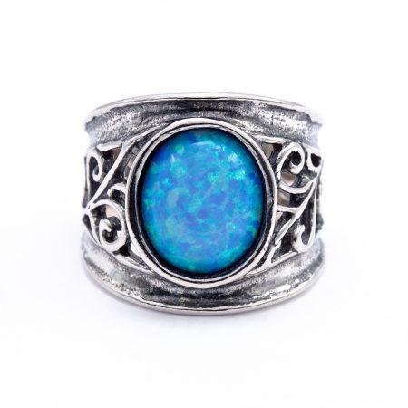 Izraeli ezüst opál köves gyűrű