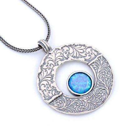 """Izraeli ezüst opál köves medál lánccal """"kerek.indák"""""""