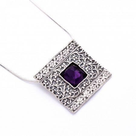 """Izraeli ezüst csiszolt ametiszt köves medál lánccal """"négyzet"""""""