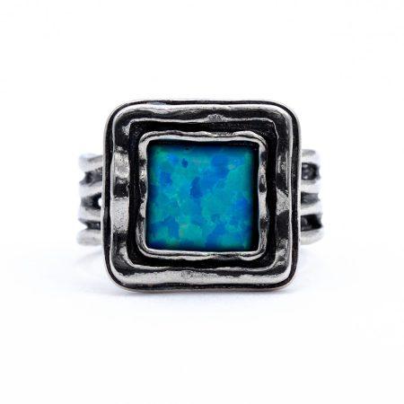 """Izraeli ezüst opál köves gyűrű """"négyzet"""""""