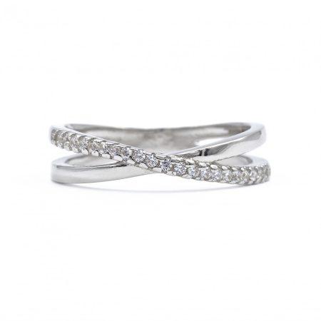 """Ezüst cirkónia köves gyűrű """"X"""""""