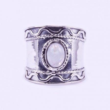 Ezüst gyűrű holdkővel