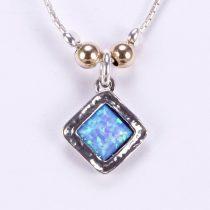 Izraeli ezüst opál lánc aranyozott gömbökkel