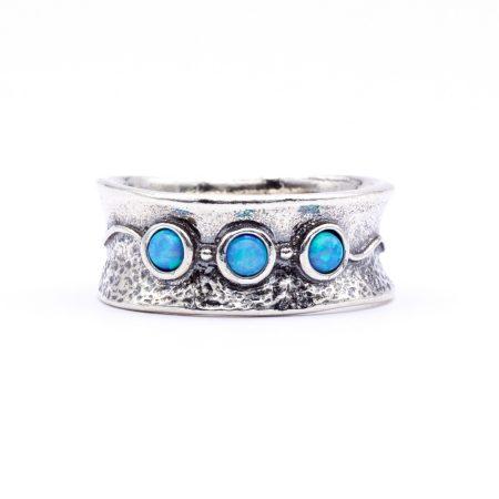 """Izraeli ezüst opál köves gyűrű """"homorú"""""""