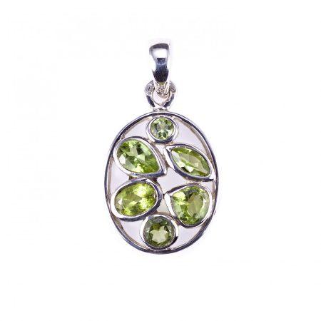 Ezüst medál olivin (peridot) kövekkel